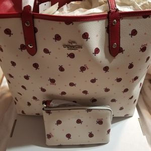 NEW Coach Ladybug tote/NEW Coach Ladybug Wristlet